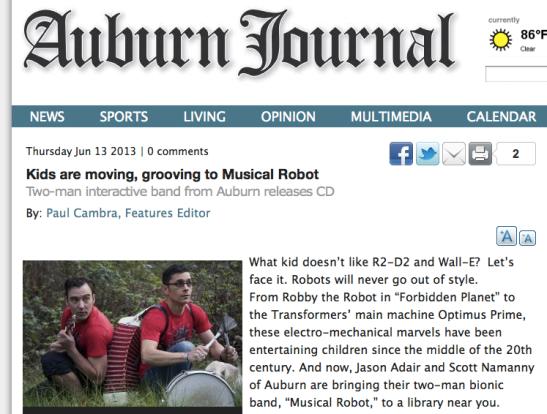 Musical Robot Auburn Journal